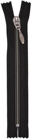 RT10 zárt fém hatású cipzár fekete nikkel/fekete színben