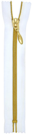 RT10 zárt fém hatású cipzár fehér/arany színben