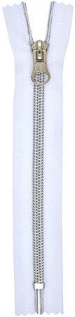 RT10 zárt fém hatású cipzár fehér/ezüst színben